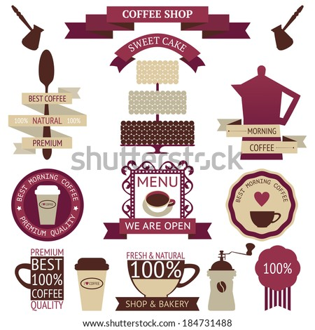 Vector collection of decorative coffee sticker and banner. Retro coffee silhouettes on white background - stock vector