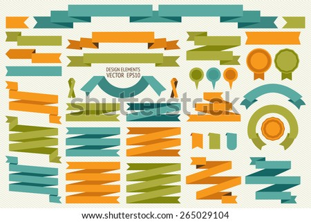 Vector collection of decorative design elements - ribbons, frames, borders, stickers, labels. - stock vector
