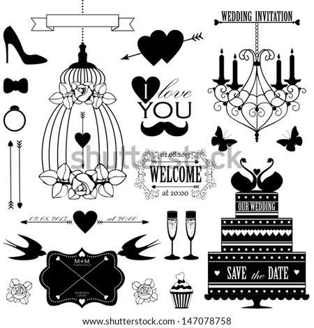 Vector collection of decorative wedding design elements and signs isolated on white