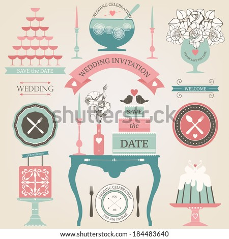Vector collection of decorative wedding dinner elements. Artistic decoration for wedding table - stock vector