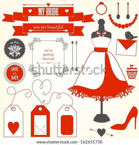 Vector collection of decorative wedding elements and signs  - stock vector