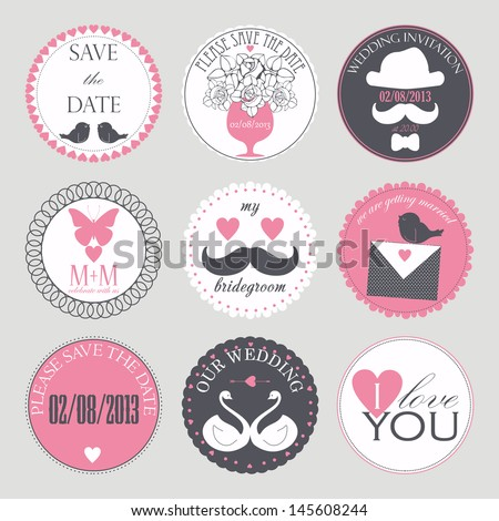 Vector collection of decorative wedding icons in retro colors. - stock vector