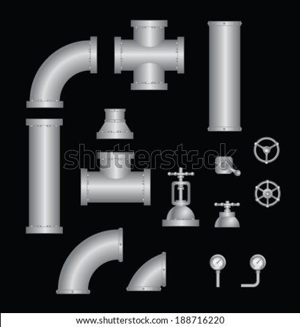 vector collection of detailed construction pipeline - stock vector