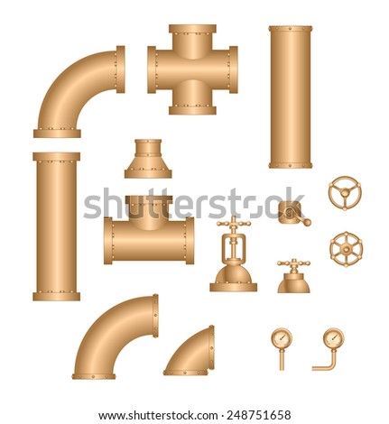 vector collection of detailed construction pipeline (gold) - stock vector