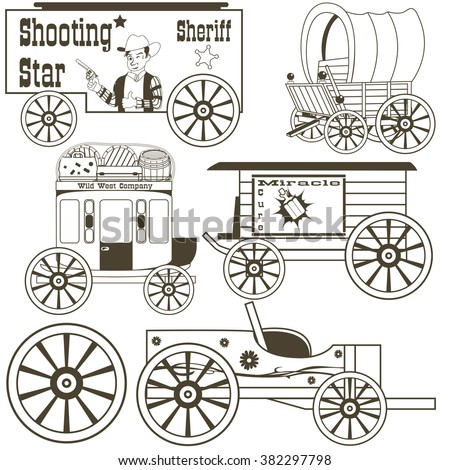 Vector collection of different covered wagons, outlined.