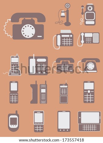 vector collection of different phones, from retro classic to modern touchscreen, isolated vector on light brown background - stock vector