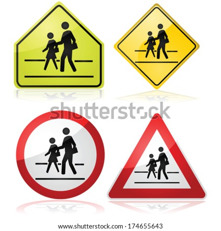Vector collection of different traffic signs indicating a nearby school crossing