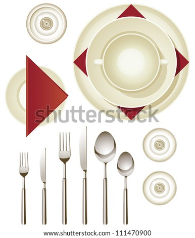 Vector collection of dinnerware for creating your own table setting - stock vector