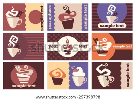 vector collection of discount cards and invitation for coffee and cake shop  - stock vector