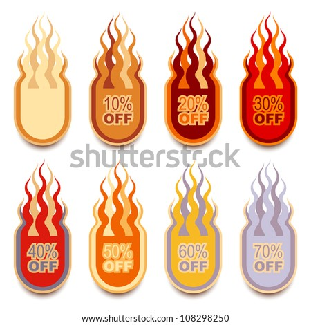 Vector collection of discount flame-shaped hot labels - stock vector