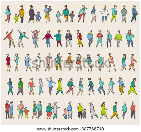 Vector Collection of Diverse Stick People. Stick figure. Stylish silhouettes of Stick People of different professions and ages. Designer figures, characters, stick man, kids, citizens, townsfolk.