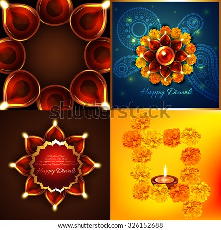 vector collection of diwali background with decorated diya illustration - stock vector