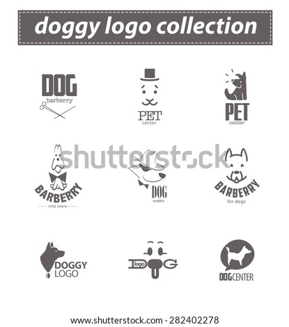 Vector collection of dog logo. Pet club, shop, food store, cat shelter, center, barber, sport dog club, veterinary clinic. Cute labrador dog icon set. Flat animal logo design. Hunting club emblem.  - stock vector