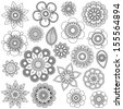 Vector Collection of Doodle Style Flowers or Mandalas - stock vector