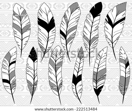 Vector Collection of Doodle Stylized Feathers - stock vector