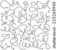 Vector Collection of Doodled Squiggly Arrows - stock vector