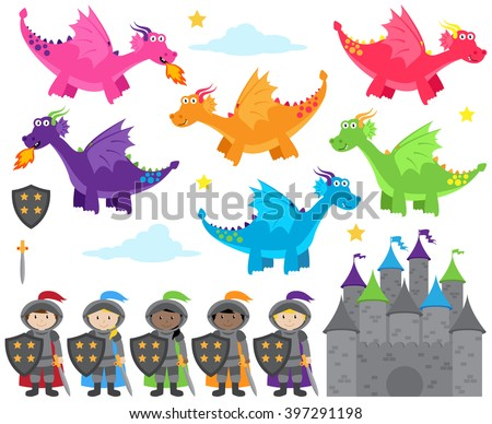 Vector Collection of Dragon and Knights Themed Images - stock vector