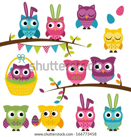 Vector Collection of Easter and Spring Themed Owls - stock vector
