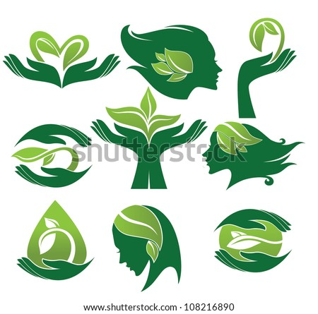 vector collection of ecological and natural beauty symbols and signs - stock vector