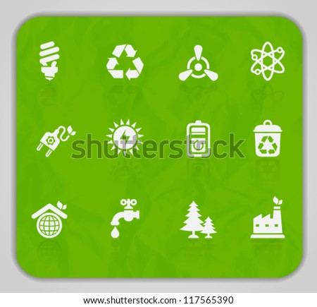 Vector collection of ecological icons on crumpled paper texture, set 2. Image contains transparency. EPS 10 - stock vector