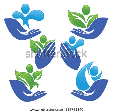 vector collection of ecological people in your hands - stock vector