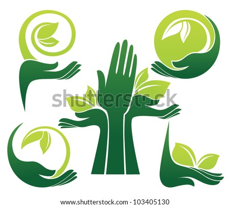 vector collection of ecological symbols and signs,human's hands and green growing plants - stock vector