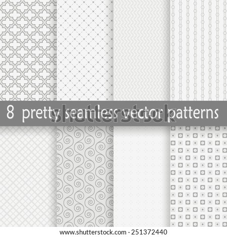 vector collection of eight seamless pretty backgrounds - stock vector