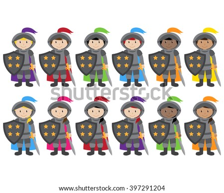 Vector Collection of Ethnically Diverse Knights - stock vector