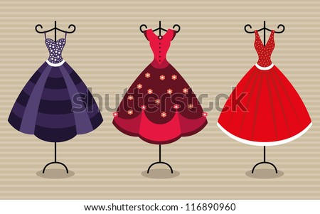 Vector collection of fashionable dresses for women, women clothing - stock vector