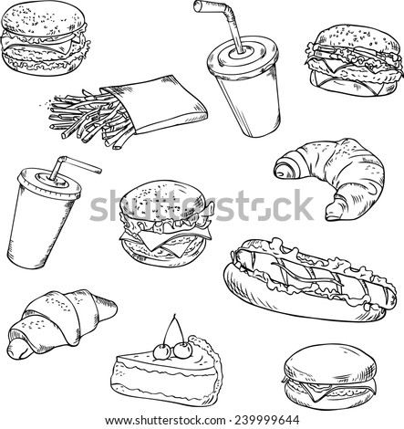 Vector collection of fast food/Fast food - vector linear drawing. - stock vector