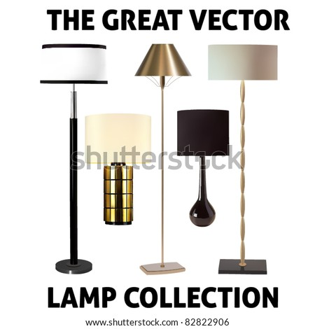 vector collection of five lamps - stock vector