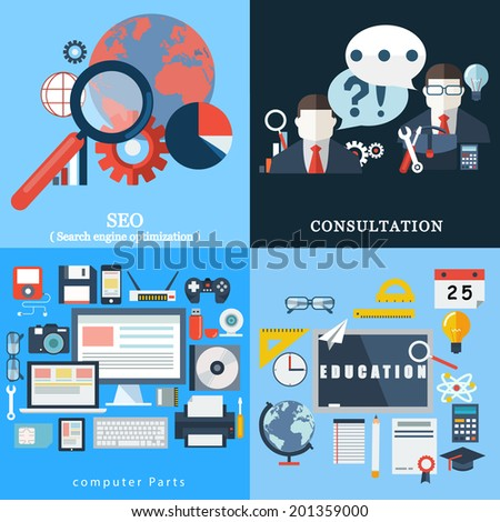 Vector collection of flat and colorful  SEO , consultation , computer parts , education . - stock vector