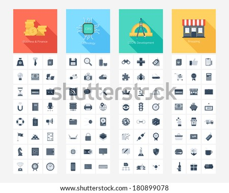 Vector collection of flat and simple web icons on SEO, business, shopping and technology theme. Design elements for mobile and web applications. - stock vector