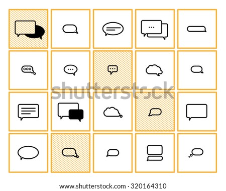 Vector collection of flat text balloons. Interface design elements. - stock vector