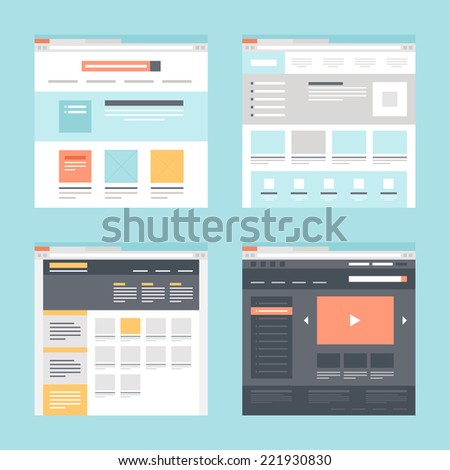Vector collection of flat website templates on blue background. - stock vector