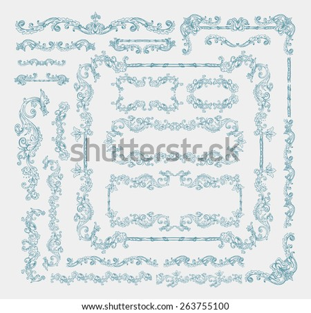 Vector collection of floral swirls, frames, decorative elements and seamless borders, hand drawn Medieval ornaments - stock vector