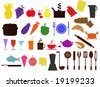 vector collection of food and kitchen equipments - stock vector