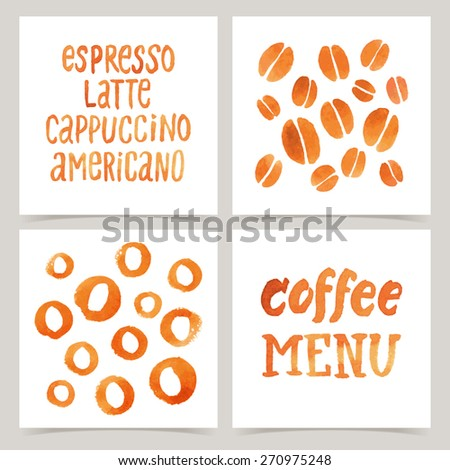 """Vector collection of four cards template. Set of coffee elements. Watercolor objects and patterns, calligraphic phrase for your design. """"Coffee menu"""" posters or postcards. - stock vector"""