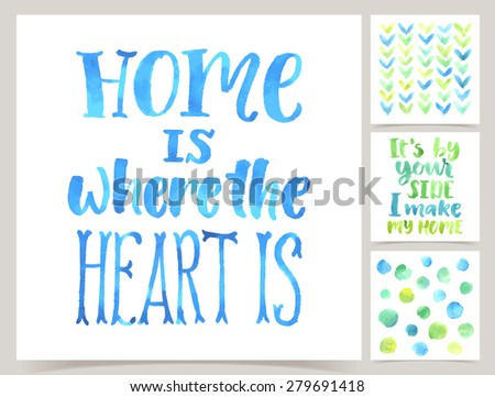 Vector collection of four cards template. Set of home. Watercolor elements and patterns, calligraphic phrase for your design. Home sweet home - stock vector