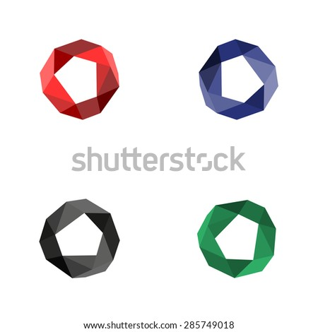Vector collection of four circles with a modern polygonal patterns on white background black and red green blue - stock vector