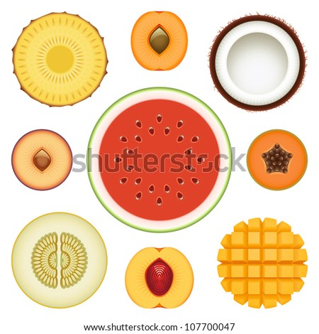 Vector collection of fresh fruit slices - Set 2