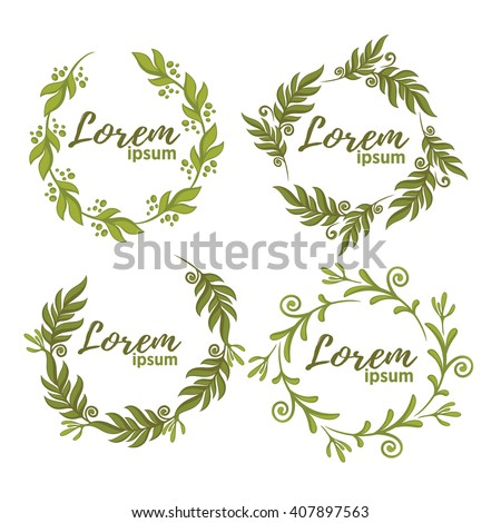 Vector Collection Fresh Green Leaf Frames Stock Vector 407897563 ...