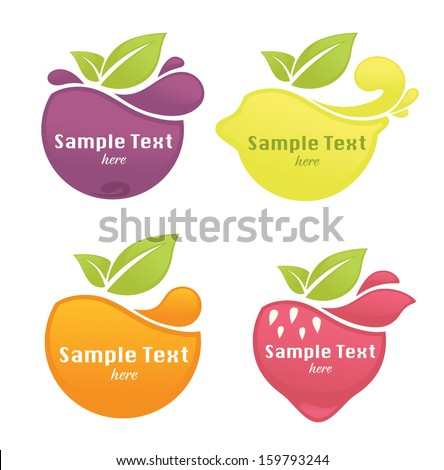 vector collection of fresh stylized fruits and berries, stickers and emblems - stock vector