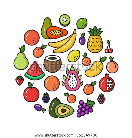 Vector Collection Of Fruit Line Icons In Circle - stock vector