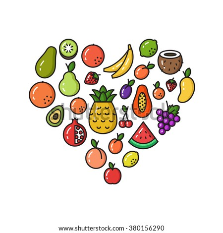Vector Collection Of Fruit Line Icons In Heart Shape - stock vector