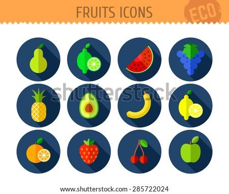 Vector collection of fruits flat icons: pear, lime, watermelon, grape, pineapple, avocado, banana, lemon, orange, strawberry, cherry, apple. - stock vector