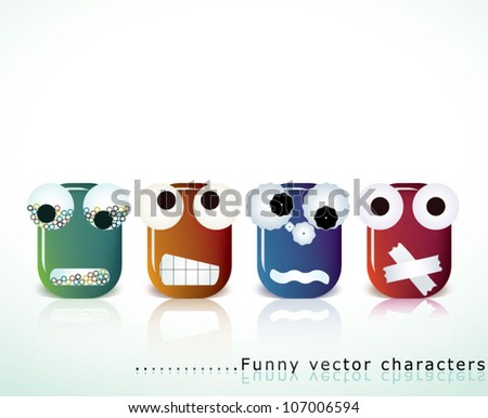 Vector collection of funny, cute and original creature faces expressing different emotions and situations