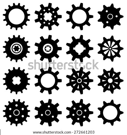 vector collection of gear icons