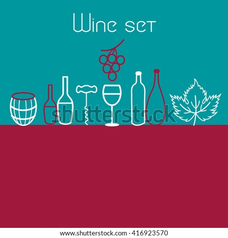 Vector collection of graphic elements of the theme of wine  - stock vector