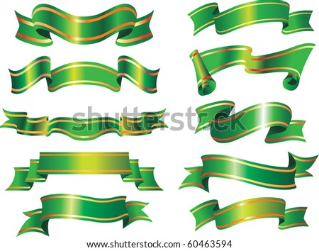 vector collection of green ribbons or banners. christmas holiday style - stock vector